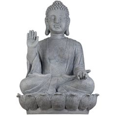 """Universal Lighting and Decor Sitting Buddha 28 1/2"""" High Outdoor... (8.240 RUB) ❤ liked on Polyvore featuring home, outdoors, outdoor decor, fillers, decor, accessories, buddha, grey, sculpture and patio decor"""
