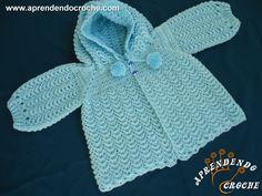 Casaquinho de Crochê Infantil com Capuz - Receita de Croche