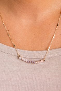 Dainty Beaded Bar Necklace - Lavender - The Mint Julep Boutique