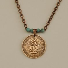 New Zealand Coin Necklace 1941 Hei Tiki by donnakbaker on Etsy