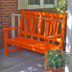 Love the bright orange paint on a classic country porch bench Porch Bench, Porch Swing, Front Porch, Country Bench, Country Life, Wood Worker, Painted Furniture, Fairy Furniture, Entryway Furniture