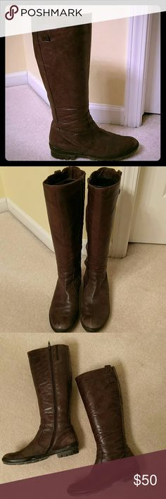 Italian riding boots Highly distressed leather riding boots. Chocolate brown, no slip rubber bottoms. Shoes Heeled Boots