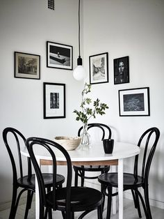 Black and white modern dining room for small space or kitchen