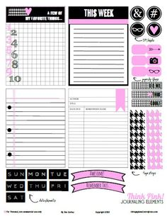 These Free Think Pink Journal Cards and Labels Printable from Vintage Glam Studio would also work in your planner or filofax.