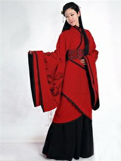 Women's Rayon Red Curved hem dress Wide sleeves Han Dynasty Hanfu Clothing