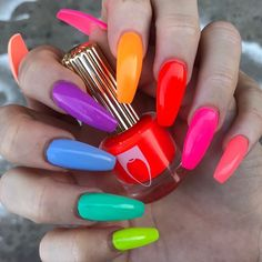 How to Get Stylish Nails for Bright Summer Acrylic Nails, Bright Nails, Best Acrylic Nails, Neon Nails, Summer Nails, Dark Nails, Spring Nails, Colorful Nail Art, Nail Lacquer