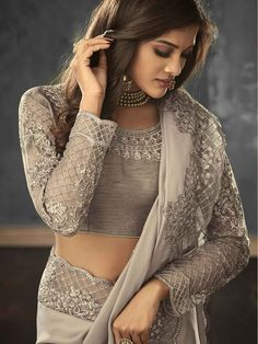 Designer Silky Grey Saree with embroidered Ready Blouse - Bollywood Party, Bollywood Wedding, Saree Petticoat, Grey Saree, Saree Hairstyles, Party Sarees, Indian Celebrities, Red Blouses, Saree Blouse Designs