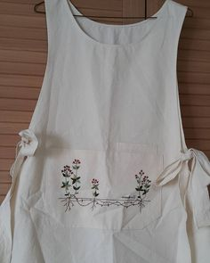 jeehyun74 • Instagram Hand Embroidery Projects, Hand Embroidery Stitches, Embroidery Designs, Pinafore Apron, Mori Fashion, Embroidered Clothes, Apron Dress, Get Dressed, Doll Clothes