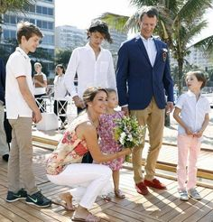 Princess Marie and Prince Joachim of Denmark with their children oldest to youngest Prince Nikolai, Prince Felix, Prince Henrik and Princess Athena as they arrived in Brazil for the upcoming Rio Olympics 2016