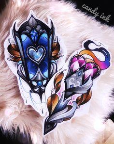#neo #traditional #dark #girly #tattoo #designs #torche #lantern #fire #crystal #diamond #glass #heart #ornament
