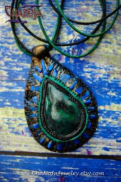Dancing Spirit Pendant-polymer clay malachite by ChaNoJaJewelry
