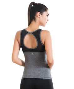 Move With You Womens Large Circle Cutout Mesh Yoga Tank Tops With Built-in bra, Grey - XL -- Awesome products selected by Anna Churchill