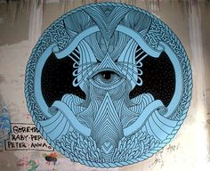 "Joan Tarragó - ""The Eye Of Guzzo"" Mural Painting for Guzzo Club, Barcelona, Spain."