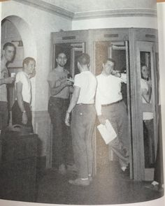 In 1961, students were waiting to give their family a phone call. The telephone booths were a popular spot for most Miami men.