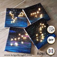 DIY: glowing star signs make pictures yourself. Galaxy Crafts, Diy Galaxy, Space Party, Space Theme, Diy Presents, Diy Gifts, Birthday Presents, It's Your Birthday, Diy And Crafts