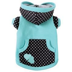 Ricky Dog Hoodie The Ruff Ruff Couture® Ricky Hoodie combines black and white polka dots with aqua for a whimsical treat. This darling hoodie features a double heart appliqué, a working pocket and convenient leash hole. Pet Dogs, Pets, Boxer Dogs, Dog Clothes Patterns, Designer Dog Clothes, Pet Fashion, Dog Jacket, Dog Pattern, Dog Hoodie