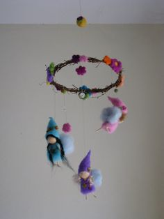 Needle felted spring fairies mobile waldorf by Made4uByMagic, $85.00