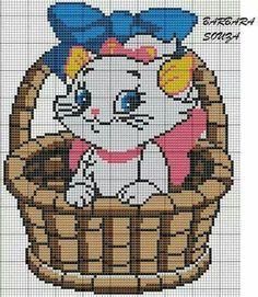 Aristocats x-stitch Cat Cross Stitches, Cross Stitch Baby, Cross Stitch Animals, Modern Cross Stitch, Counted Cross Stitch Patterns, Cross Stitching, Cross Stitch Embroidery, Disney Stitch, Gata Marie