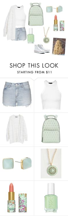 """Mint"" by makenzie-mcfadden ❤ liked on Polyvore featuring Topshop, Violeta by Mango, Converse, RED Valentino, Michael Kors and tarte"
