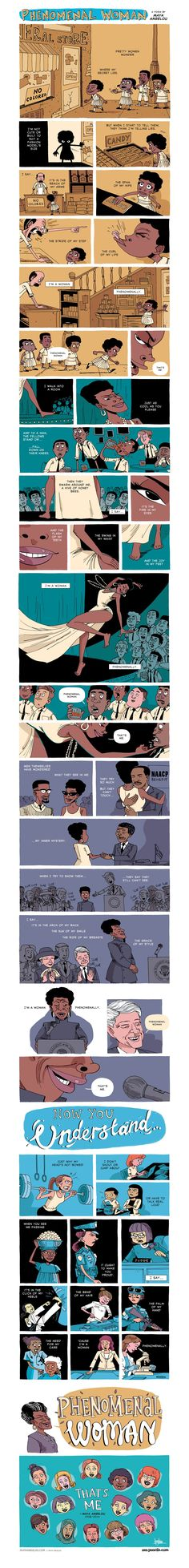 phenomenal woman - cute comic of the maya angelou poem