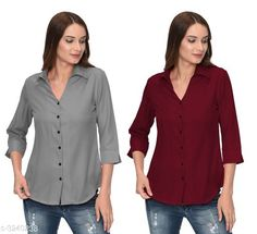 Checkout this latest Shirts Product Name: *Glamorous Contemporary Women's Polyester Solid Women's Shirts(Pack Of 2)* Fabric: Polyester Sleeve Length: Three-Quarter Sleeves Pattern: Solid Multipack: 2 Sizes: S, M, L, XL Country of Origin: India Easy Returns Available In Case Of Any Issue   Catalog Rating: ★4 (354)  Catalog Name: Glamorous Contemporary Women's Polyester Solid Women's Shirts Combo CatalogID_446772 C79-SC1022 Code: 405-3240238-1131