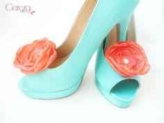 clip chaussure mariage mode corail strass accessoire escarpin menthe à l'eau cereza deco
