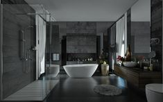 ducha de cristal en baño moderno