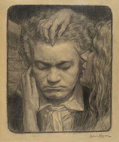 Le Prince Lointain: Ludovic Alleaume (1859 - 1941), Portrait de Ludwig van Beethoven, dessin préparatoire - 1912
