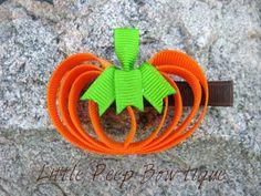 Pumpkin+hair+bow+clippie+girls+Fall+hair+bow+clip+THANKSGIVING