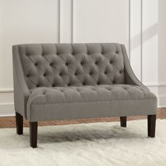 Ramona Settee in Linen Gray great in a bedroom, dining or living room