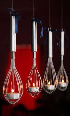 DIY hanging whisk tea light candle holder votive