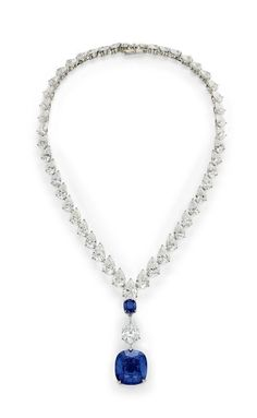 Collection of H.S.H. Gabriela Princess zu Leiningen. A magnificent Burma sapphire and Type IIa diamond necklace, by Cartier