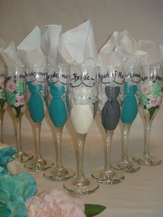 Hand Painted Personalized Bridal Party Champagne Glasses - PERSONALIZED to YOUR DRESSES. $23.00, via Etsy.