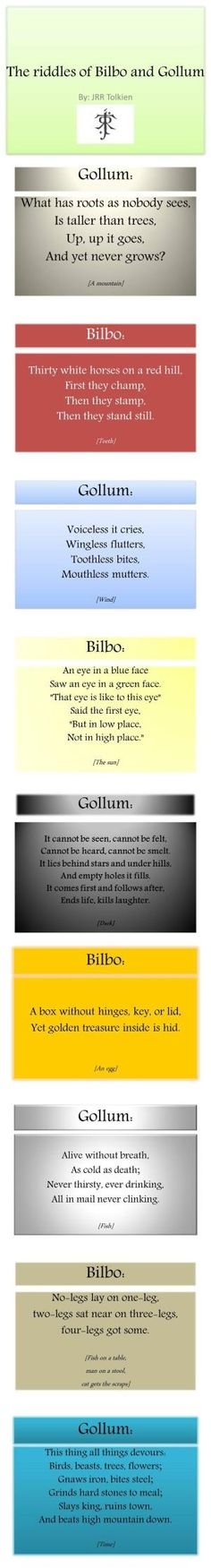 The Hobbit - Tolkien was so creative, I'd never heard any of these riddles in my life before i read them in the book. Legolas, Thranduil, Tauriel, Into The West, Into The Fire, Jrr Tolkien, Geeks, O Hobbit, Geek Out