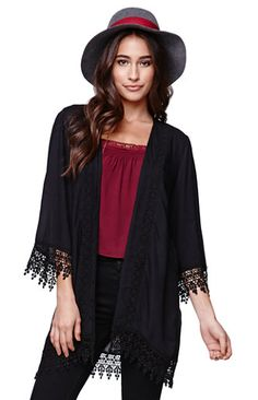 This is the cardigan I have been waiting for. Boho Fashion, Fashion Outfits, Lifestyle Clothing, Crochet Trim, Pacsun, I Dress, Kimono Top, Street Style, My Style