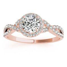 Twisted Infinity Halo Engagement Ring Setting 14k Rose Gold (0.20ct) - Allurez.com
