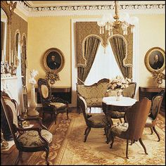 Home Furnishings:  An old-fashioned Victorian living room done in a neutral palette.