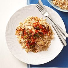 Grilled Halibut with Puttanesca Salsa and Parmesan Orzo