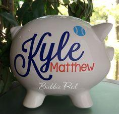 Personalized Piggy Bank, Baby Boy Piggy Bank, Baby Birth Stats Gift, Baby Boy…