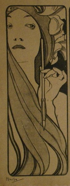 Mucha  I'm going with this. I know that's her hair, but what about a scarf with flowers over it?