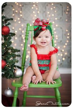 Photography. Christmas. Holiday.  Simple set up for beautiful holiday portraits.  Use simple backdrop with hanging lights and Christmas tree.  Make sure ornaments are safe/non-breakable.