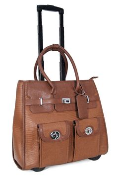Carry On Roller Bag in Cognac Rolling Laptop Bag, Laptop Briefcase, Laptop Bags, Best Carry On Luggage, Laptop Bag For Women, Trolley Bags, Sack Bag, Computer Bags, Gifts For Coworkers