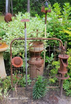 Remember when I purchased two old gears with my birthday money last month? I got them from my friend, Dana. Dana and her daughter ow... Outdoor Garden Decor, Outdoor Gardens, New Home Designs