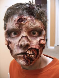 Easy zombie Halloween look! Blood, latex, cotton wool and a make ...