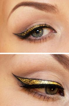 gold eyeliner--Looks super Egyptian! LOVE IT!