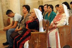 Palestinian Christians worship in the Greek Orthodox Dormition of the Virgin Mary Church in the West Bank village of Aboud Christian Women, Christian Faith, Palestine History, Israel Trip, What Is Evil, Religion, Chapel Veil, Orthodox Christianity, Arabic Food