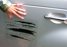 A Dutch car insurance company, placed special clear sticker decals on expensive cars in the city that, from a distance, made them look like they had been severely scratched.