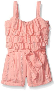 7bec6646c624 Limited Too Girls  Lurex Crinkle Gauze Ruffle Top and Short Romper -  girls