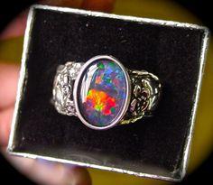 Men's ring. Genuine Australian Black Opal ring. Vine by AmyKJewels