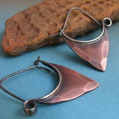 Rustic Copper Earrings With Sterling Silver -  Pixie Blade Hoops - Small Tribal Earrings.